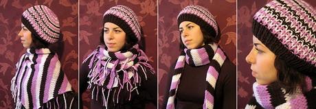 трехцветный полосатый платок и шапочка